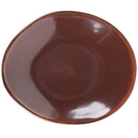 Tuxton GAR-651 Artisan Red Rock 8 1/4 inch x 10 inch Ellipse China Plate - 12 / Case