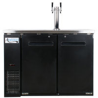Avantco UDD-24-48 Black Kegerator / Beer Dispenser with Double Tap Tower - (2) 1/2 Keg Capacity
