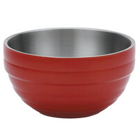 Vollrath 4658755 24 oz. Stainless Steel Double Wall Fire Engine Red Round Beehive Serving Bowl