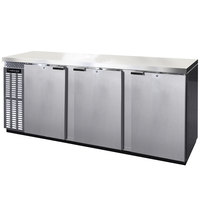 Continental Refrigerator BBC90-SS 90 inch Stainless Steel Solid Door Back Bar Refrigerator