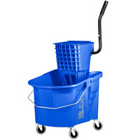 Continental 335-312BL 35 Qt. Blue Splash Guard Mop Bucket with Side-Press Wringer