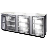 Continental Refrigerator BBC90S-SS-GD 90 inch Stainless Steel Shallow Depth Glass Door Back Bar Refrigerator