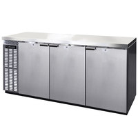 Continental Refrigerator BBC79-SS 79 inch Stainless Steel Solid Door Back Bar Refrigerator
