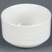 Tuxton FPB-090 Pacifica 9 oz. Porcelain White Embossed Stackable China Bouillon - 36 / Case