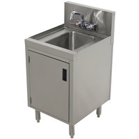 Advance Tabco PRHSC-19-18 Prestige Series Stainless Steel Underbar Hand Sink with Cabinet Base - 20 inch x 18 inch