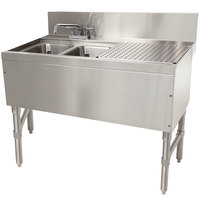 Advance Tabco PRB-24-32L 2 Compartment Prestige Series Underbar Sink with (1) 11 inch Drainboard and Deck Mount Faucet - 25 inch x 36 inch (Left Side Sink)