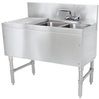 Advance Tabco PRB-19-42R 2 Compartment Prestige Series Underbar Sink with (1) 23 inch Drainboard and Splash Mount Faucet - 20 inch x 48 inch (Right Side Sink)