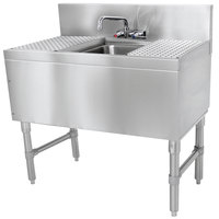 Advance Tabco PRB-19-31C 1 Compartment Prestige Series Underbar Sink with (2) 12 inch Drainboards and Splash Mount Faucet - 20 inch x 36 inch