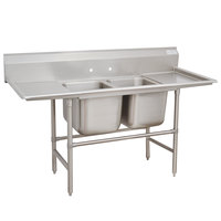 Advance Tabco 94-82-40-24RL Spec Line Two Compartment Pot Sink with Two Drainboards - 93 inch