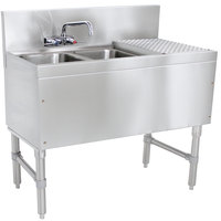Advance Tabco PRB-19-42L 2 Compartment Prestige Series Underbar Sink with (1) 23 inch Drainboard and Splash Mount Faucet - 20 inch x 48 inch (Left Side Sink)