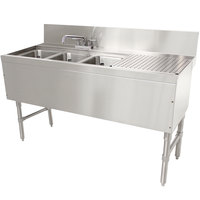 Advance Tabco PRB-24-53L 3 Compartment Prestige Series Underbar Sink with (1) 23 inch Drainboard and Deck Mount Faucet - 25 inch x 60 inch (Left Side Sink)
