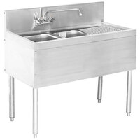 Advance Tabco PRB-24-42L 2 Compartment Prestige Series Underbar Sink with (1) 23 inch Drainboard and Deck Mount Faucet - 25 inch x 48 inch (Left Side Sink)