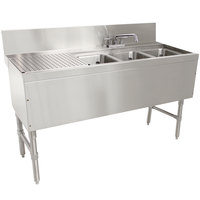 Advance Tabco PRB-24-43R 3 Compartment Prestige Series Underbar Sink with (1) 11 inch Drainboard and Deck Mount Faucet - 25 inch x 48 inch (Right Side Sink)