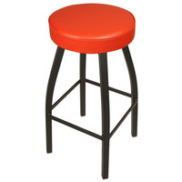 BFM Seating 2520BRDV-SB Kyle Sand Black Metal Barstool with Padded Red Vinyl Swivel Seat
