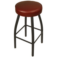 BFM Seating 2520BBUV-SB Kyle Sand Black Metal Barstool with Padded Burgundy Vinyl Swivel Seat