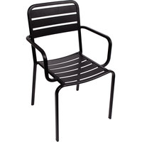 BFM Seating DV352BL Vista Outdoor / Indoor Stackable Black Aluminum Arm Chair