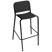 BFM Seating DV553BWBL Rio Outdoor / Indoor Stackable Synthetic Wicker Bar Height Chair