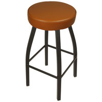 BFM Seating 2520BLBV-SB Kyle Sand Black Metal Barstool with Padded Light Brown Vinyl Swivel Seat