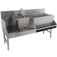 Advance Tabco PRU-19-60R-10 Prestige Series Stainless Steel Uni-Serv Speed Bar with 10-Circuit Cold Plate - 60 inch x 25 inch (Right Side Ice Bin)