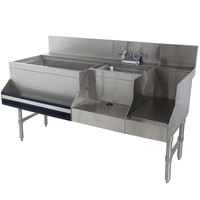 Advance Tabco PRU-24-60L Prestige Series Stainless Steel Uni-Serv Speed Bar - 60 inch x 30 inch (Left Side Ice Bin)