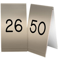 Cal-Mil 271B-11 Gold Engraved Number Tent Sign Set 26-50 - 3 1/2 inch x 5 inch