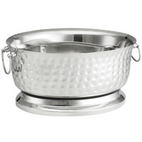 Tablecraft BT1815 Bali Oval Double Wall Stainless Steel Beverage Tub - 18 inch x 15 inch x 9 inch