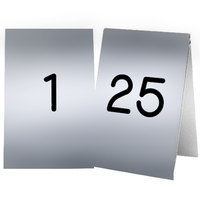 Cal-Mil 271A-10 Silver Engraved Number Tent Sign Set 1-25 - 3 1/2 inch x 5 inch