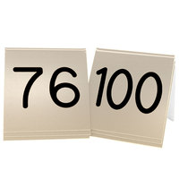 Cal-Mil 269D-11 Gold Engraved Number Tent Sign Set 76-100 - 3 inch x 3 inch