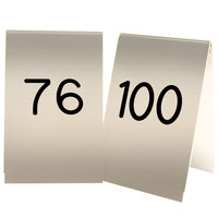 Cal-Mil 271D-11 Gold Engraved Number Tent Sign Set 76-100 - 3 1/2 inch x 5 inch