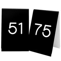 Cal-Mil 271C-2 Black Engraved Number Tent Sign Set 51-75 - 3 1/2 inch x 5 inch