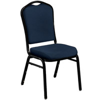National Public Seating 9354-BT Silhouette Midnight Blue Stackable Padded Chair with Black Santex Frame