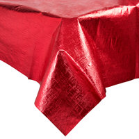 Creative Converting 38327 54 inch x 108 inch Red Metallic Plastic Table Cover - 12 / Case
