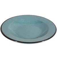 Elite Global Solutions DB10M Mojave Vintage California 18 oz. Cameo Blue Round Crackle Pasta / Soup Bowl