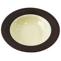 Elite Global Solutions DB82GM Durango 16 oz. Antique White & Chocolate Round Two-Tone Melamine Bowl