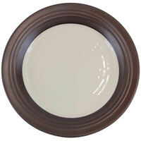 Elite Global Solutions D897GM Durango 9 inch Antique White & Chocolate Round Two-Tone Melamine Plate