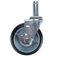 Regency 5 inch Polyurethane Stem Caster with Brake for Regency 18 inch and 24 inch Utility Cart Handles