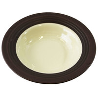 Elite Global Solutions DB651GM Durango 10 oz. Antique White & Chocolate Round Two-Tone Melamine Bowl