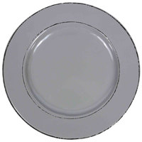 Elite Global Solutions D1025T Trestles Vintage California 10 1/2 inch Gray Round Double-Line Melamine Plate