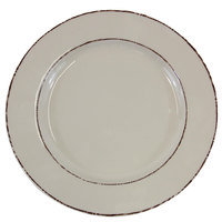 Elite Global Solutions D1025T Trestles Vintage California 10 1/2 inch Vanilla Round Double-Line Melamine Plate