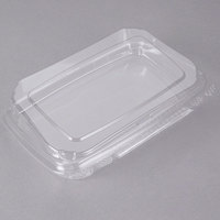 Tamper-Evident Recycled PET 10 inchx 7 inch x 2 inch Angled Clear Takeout Container - 55/Pack