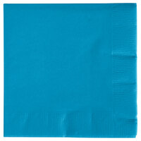 Creative Converting 573131B Turquoise Blue 3-Ply Beverage Napkin - 500 / Case