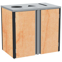 Lakeside 3415 Stainless Steel Refuse / Recycle / Paper Station with Top Access and Hard Rock Maple Laminate Finish - 37 1/2 inch x 23 1/4 inch x 34 1/2 inch