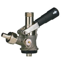 Micro Matic 7486BS S System Beer Keg Coupler with Black Lever Handle and Type 304 Stainless Steel Probe