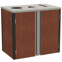 Lakeside 3415 Stainless Steel Refuse / Recycle / Paper Station with Top Access and Red Maple Laminate Finish - 37 1/2 inch x 23 1/4 inch x 34 1/2 inch