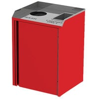 Lakeside 3420 Stainless Steel Liquid / Cup Refuse Station with Top Access and Red Laminate Finish - 26 1/2 inch x 23 1/4 inch x 34 1/2 inch
