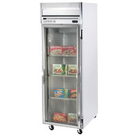 Beverage Air HF1-1G-LED 1 Section Glass Door Reach-In Freezer with LED Lighting - 24 cu. ft., SS Front, Gray Exterior