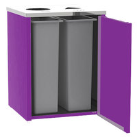 Lakeside 3412 Stainless Steel Refuse / Recycling Station with Top Access and Purple Laminate Finish - 26 1/2 inch x 23 1/4 inch x 34 1/2 inch
