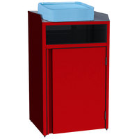 Lakeside 4410 Stainless Steel Refuse Station with Front Access and Red Laminate Finish - 26 1/2 inch x 23 1/4 inch x 45 1/2 inch