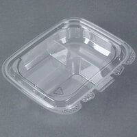 13 oz. Tamper-Evident Recycled PET 3-Compartment Clear Takeout Container - 50/Pack