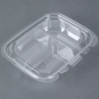 13 oz. Tamper-Evident Recycled PET 3-Compartment Clear Takeout Container - 50 / Pack